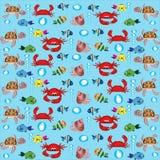 Fondo con los animales de mar. Imágenes de archivo libres de regalías