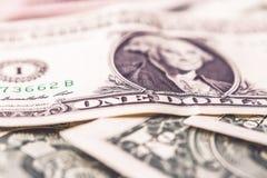 Fondo con los billetes de banco americanos de los billetes de dólar del dinero Concepto de las finanzas Imagen de archivo libre de regalías