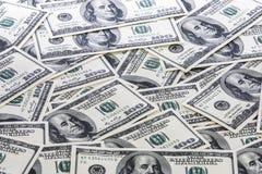 Fondo con los billetes de dólar del americano ciento Imágenes de archivo libres de regalías