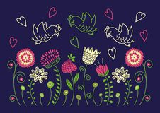 Fondo con los birgs y las flores Imágenes de archivo libres de regalías