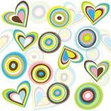 Fondo con los círculos y los corazones Fotos de archivo libres de regalías