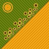 Fondo con los campos, los girasoles y Sun coloridos Foto de archivo