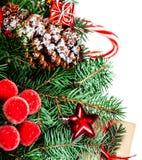 Fondo con los conos del pino, fi de las decoraciones de la Navidad o del Año Nuevo Foto de archivo libre de regalías