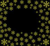 Fondo con los copos de nieve Ejemplo en un fondo negro con los copos de nieve brillantes ilustración del vector