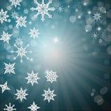 Fondo con los copos de nieve, estrellas Imagenes de archivo