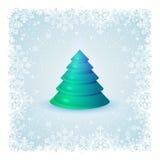 Fondo con los copos de nieve y el árbol de navidad Foto de archivo libre de regalías