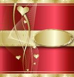Fondo con los corazones de oro Imagenes de archivo