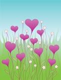 Fondo con los corazones decorativos Fotografía de archivo
