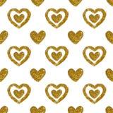 Fondo con los corazones del brillo de oro, modelo inconsútil Imagen de archivo libre de regalías