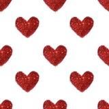 Fondo con los corazones del brillo rojo, modelo inconsútil Fotografía de archivo