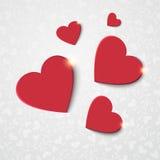 Fondo con los corazones rojos Fotos de archivo