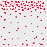 Fondo con los corazones rojos Corazones que caen en fondo transparente Vector stock de ilustración