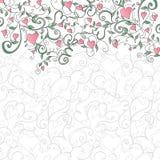 Fondo con los corazones y el ornamento floral Stock de ilustración
