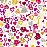 Fondo con los corazones y los claves, vector Foto de archivo libre de regalías