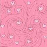 Fondo con los corazones y los remolinos Imagen de archivo libre de regalías