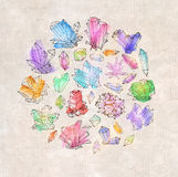 Fondo con los cristales del bosquejo del garabato stock de ilustración