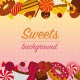 Fondo con los dulces Imágenes de archivo libres de regalías
