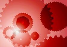 Fondo con los engranajes grandes en color rojo ilustración del vector