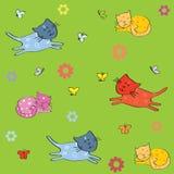 Fondo con los gatos, los pájaros y las mariposas. Fotografía de archivo