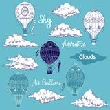 Fondo con los globos del aire caliente Imagen de archivo libre de regalías