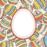 Fondo con los huevos de Pascua y etiqueta para el texto Fotografía de archivo libre de regalías