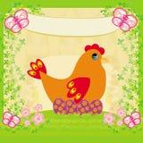 Fondo con los huevos de Pascua y una gallina Fotos de archivo libres de regalías