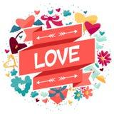 Fondo con los iconos de la tarjeta del día de San Valentín y de la boda Fotos de archivo