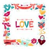 Fondo con los iconos de la tarjeta del día de San Valentín y de la boda Imagenes de archivo