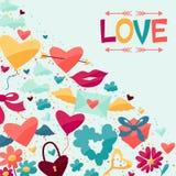Fondo con los iconos de la tarjeta del día de San Valentín y de la boda Imagen de archivo libre de regalías