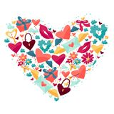 Fondo con los iconos de la tarjeta del día de San Valentín y de la boda Imagen de archivo