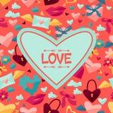 Fondo con los iconos de la tarjeta del día de San Valentín y de la boda Fotos de archivo libres de regalías