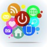 Fondo con los iconos del web en burbujas del color Foto de archivo libre de regalías
