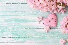 Fondo con los jacintos de las flores frescas y rosa decorativo Imagenes de archivo