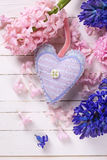 Fondo con los jacintos frescos y deco azules y rosados de las flores Foto de archivo