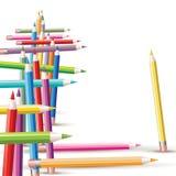 Fondo con los lápices coloreados stock de ilustración