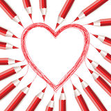 Fondo con los lápices y el corazón rojos stock de ilustración