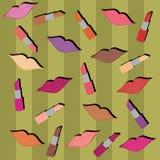 Fondo con los labios y los lápices labiales Imágenes de archivo libres de regalías