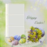 Tarjeta de felicitación de Pascua con el marco Imagen de archivo