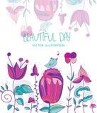 fondo con los pájaros y las abejas de las flores con el día de la inscripción ilustración del vector