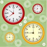 Fondo con los relojes Imagenes de archivo