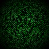 Fondo con los símbolos verdes, movimiento de la matriz Imágenes de archivo libres de regalías