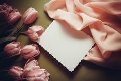 Fondo con los tulipanes rosados Fotografía de archivo