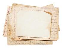 Fondo con los viejos papeles y letras Fotos de archivo libres de regalías