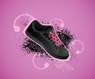 Fondo con los zapatos de gimnasia stock de ilustración