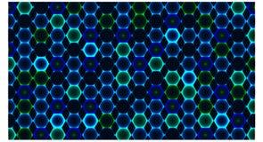 Fondo con muchos color azul del hexágono - ejemplo del vector ilustración del vector