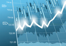 Fondo con negocio, datos financieros y diagramas Fotos de archivo