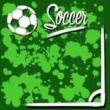 Fondo con pallone da calcio Fotografia Stock Libera da Diritti
