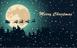 Fondo con Papá Noel y trineo, árboles de navidad, estrellas y copos de nieve Cartel de la Feliz Navidad Imágenes de archivo libres de regalías