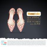 Fondo con pares femeninos de zapatos de ballet rojos con la impresión floral blanca en encariñado negro libre illustration