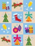 Fondo con símbolos de la Navidad Imágenes de archivo libres de regalías